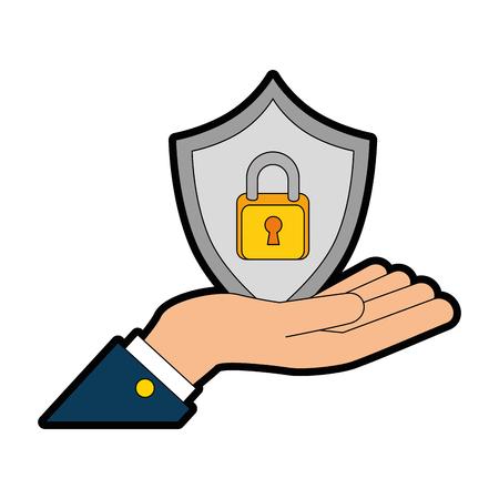 hand lifting shield with padlock icon vector illustration design