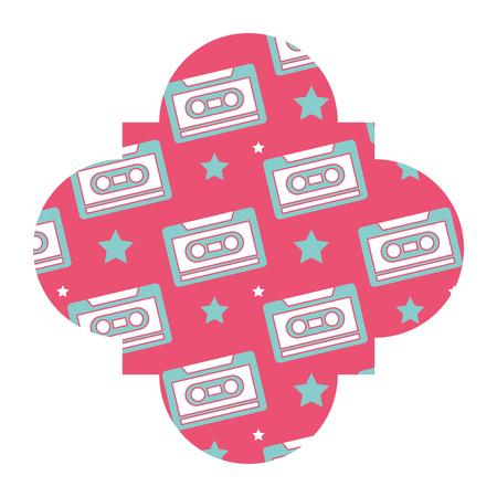 Rótulo vintage retrô cassete gravador vector ilustração rosa fundo Foto de archivo - 94440259