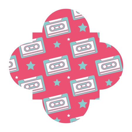 label vintage retro cassette tape recorder vector illustration pink background