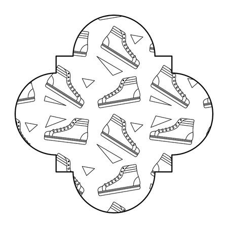 ラベルヴィンテージレトロクラシックスニーカーメンフィスデッシングベクトルイラストアウトラインデザイン  イラスト・ベクター素材