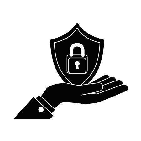 Hand lifting shield with padlock icon. Vector illustration design. Illustration