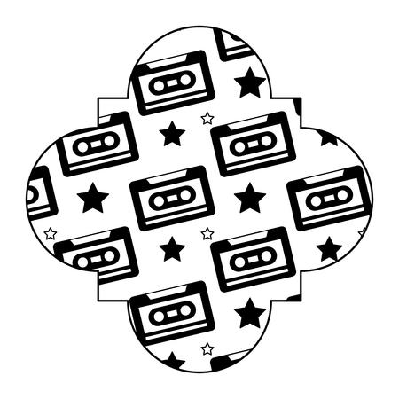 Label vintage retro cassette tape recorder. Vector illustration black image.