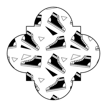 Label vintage retro classic sneakers, Memphis design. Vector illustration black image.