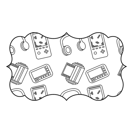 Sticker Retro Video Game And Headphones Vector Illustration Outline - Video game outline