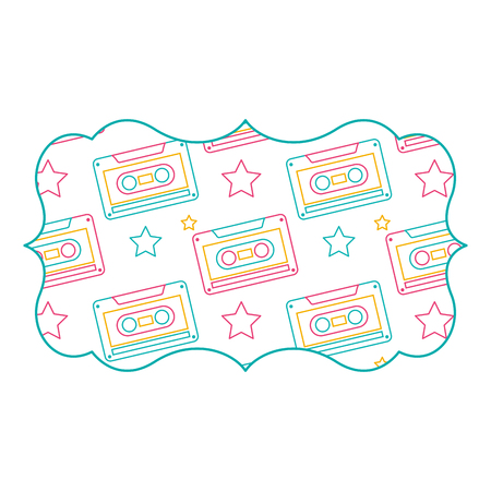 sticker retro cassette tape recorder music vector illustration color line design