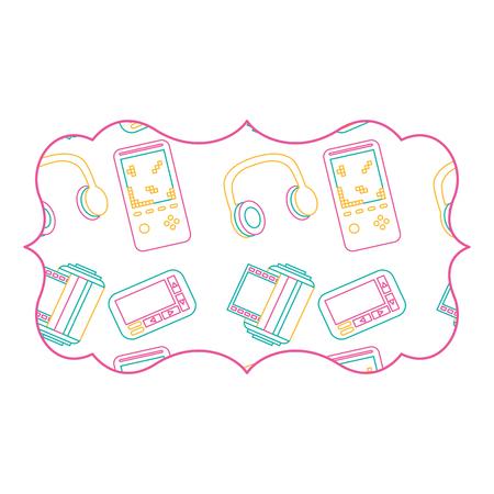 sticker retro video game and headphones vector illustration color line design