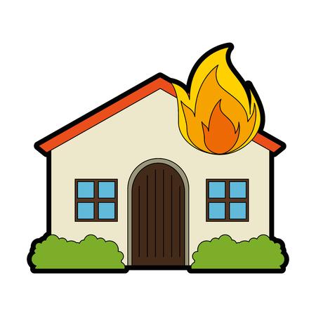 Casa con progettazione dell'illustrazione di vettore della fiamma del fuoco Archivio Fotografico - 94438965