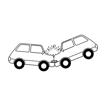 車の衝突事故アイコンベクトルイラストデザイン