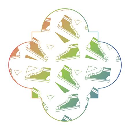 ラベル ヴィンテージ レトロ クラシック スニーカー メンフィス デシング ベクトル イラスト カラー グラデーション テクスチャ  イラスト・ベクター素材