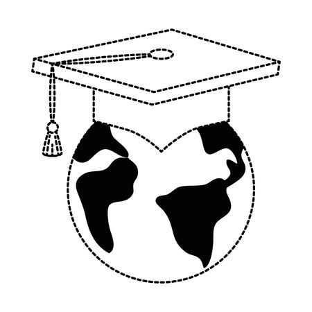지구 행성 졸업 모자 벡터 일러스트 디자인
