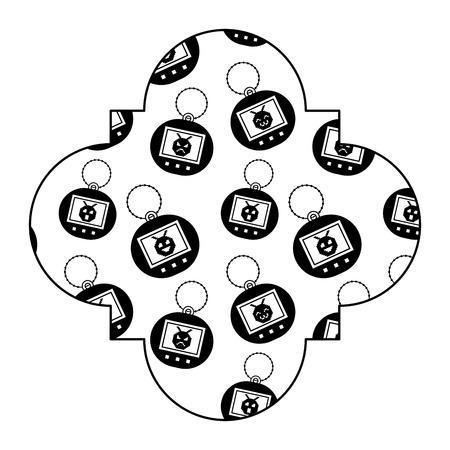 label vintage retro tamagotchi game electronic vector illustration black image Illustration