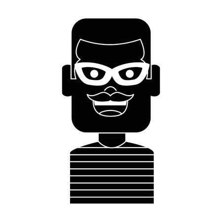泥棒男性アバターキャラクターベクトルイラストデザイン  イラスト・ベクター素材