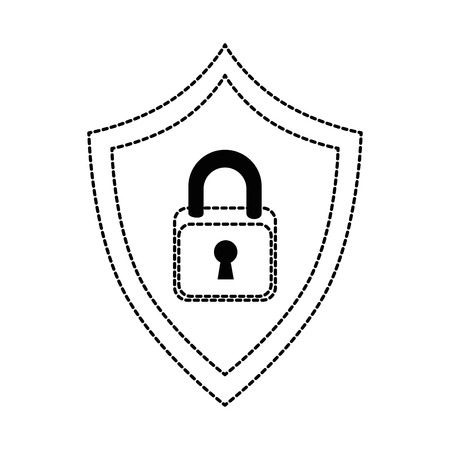 shield with padlock icon vector illustration design