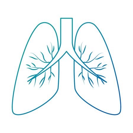 인간의 폐 아이콘 벡터 일러스트 디자인 격리