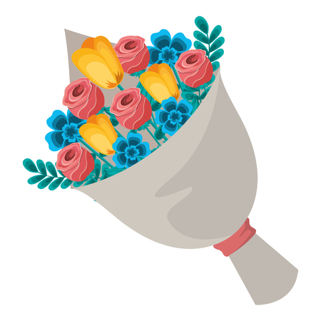 cute floral bouquet fresh flowers wrapped vector illustration