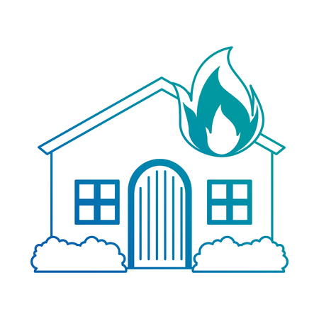 house with fire flame vector illustration design