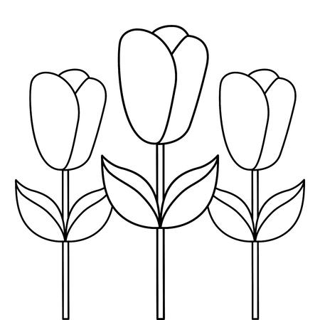 decoratie drie roos stengel bloemblad bloem blad botanische vector illustratie schets ontwerp Stock Illustratie