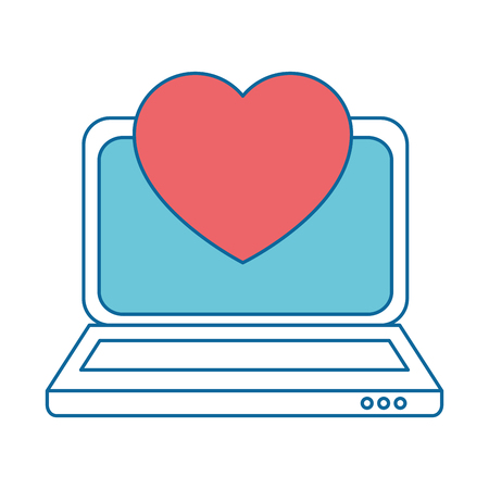 laptop computer with heart cardio vector illustration design