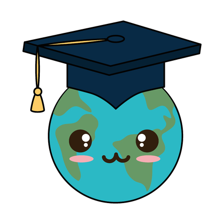 earth planet with graduation hat  character vector illustration design