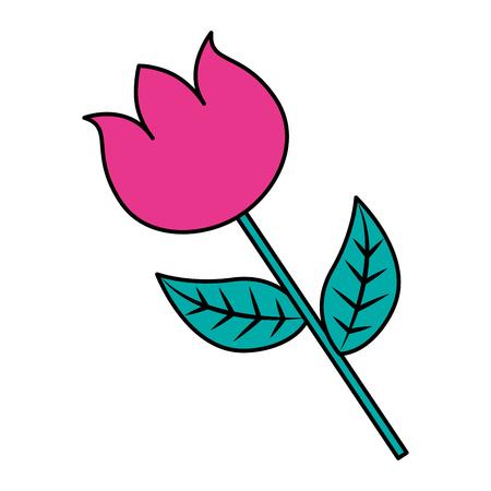 flower stem petal leaves natural spring image vector illustration Çizim