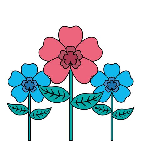 decoration three rose stem petal flower leaf botanical vector illustration Illustration