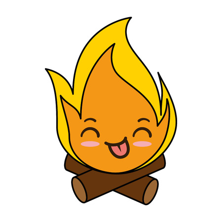 Fire flame kawaii character vector illustration design