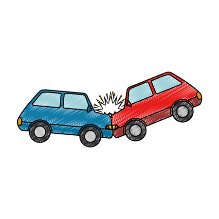 auto's crash ongeval pictogram vector illustratie ontwerp Stock Illustratie