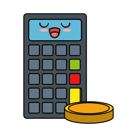 calculator machine with coins character vector illustration design