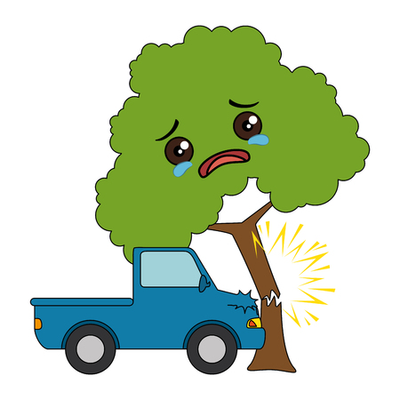 cars crash accident with tree character vector illustration design Illustration