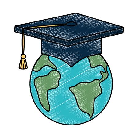 Planet earth with graduation hat illustration design Çizim
