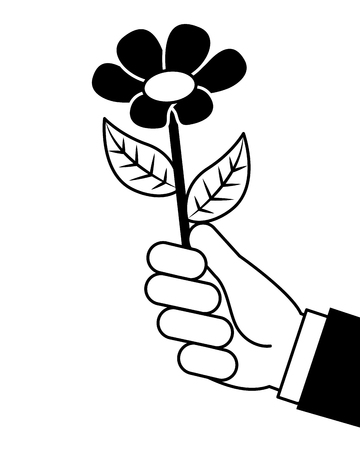 hand holding beautiful flower nature vector illustration