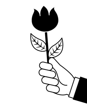 hand holding beautiful flower nature vector illustration