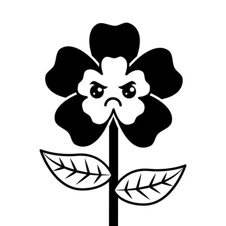 Simpatico cartone animato felice fiore adorabile kawaii illustrazione vettoriale Archivio Fotografico - 94446409