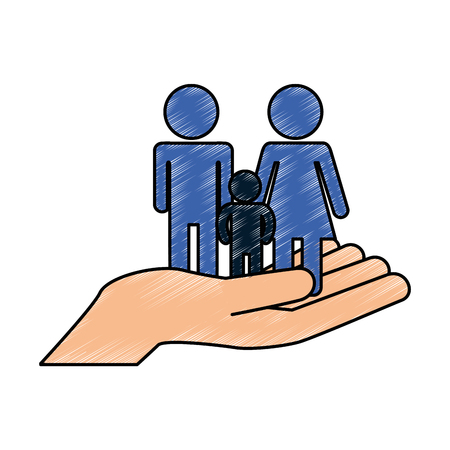 hands with family silhouette vector illustration design