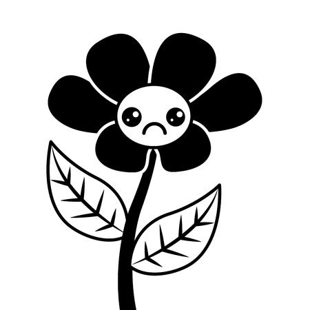 Kawaii cute flower ornament cartoon vector illustration. Çizim
