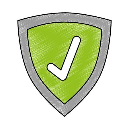 shield with check icon vector illustration design