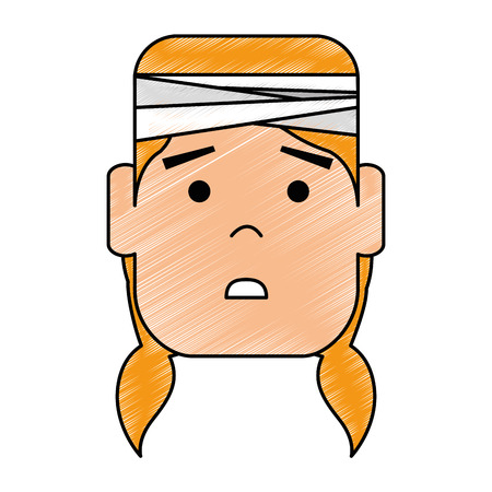 woman with bandage head character vector illustration design