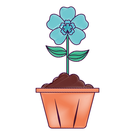 potted flower interior decoration garden spring vector illustration