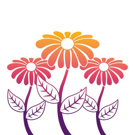 illustrazione di vettore botanico di foglia di fiore petalo di gambo decorazione tre