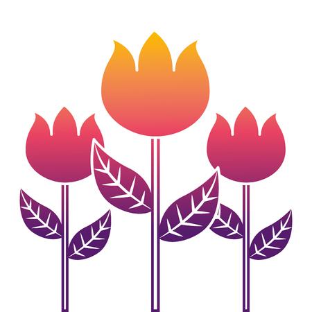 decoration three stem petal flower leaf botanical vector illustration  イラスト・ベクター素材