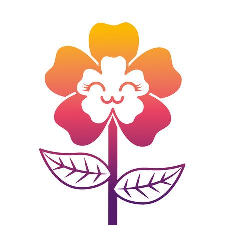 Illustration vectorielle adorable dessin animé mignon fleur heureuse Banque d'images - 94452428