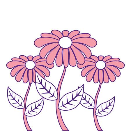 decoratie drie stengel bloemblad bloemblad botanische vector illustratie roze afbeelding ontwerp