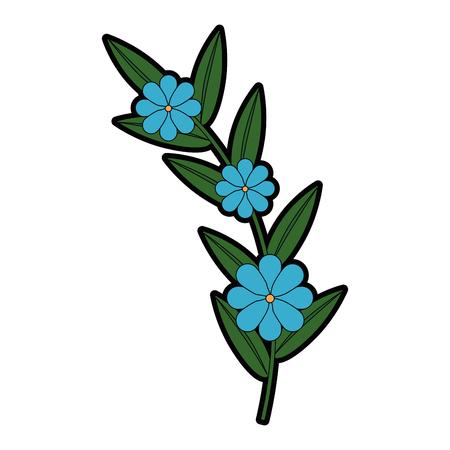 Flower and leafs floral decoration. Vector illustration design. Çizim
