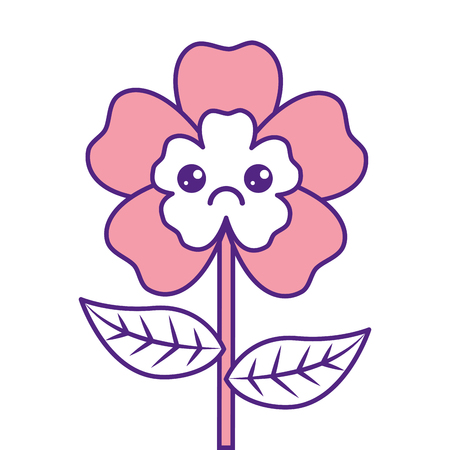 Cute cartoon happy flower adorable. Vector illustration pink image design.