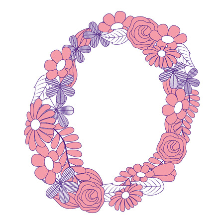 decoration three stem petal flower leaf botanical vector illustration pink image design