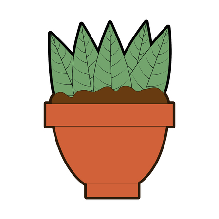 cute leafs decorative in pot vector illustration design Illustration