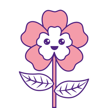 cute cartoon happy flower adorable kawaii vector illustration pink image design Illustration