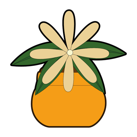 Flower decorative in pot vector illustration design