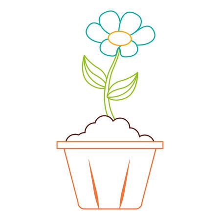 potted flower interior decoration garden spring vector illustration color line image