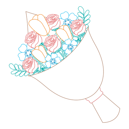 cute floral bouquet fresh flowers wrapped vector illustration color line image